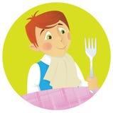 男孩吃饭的客人 免版税库存照片