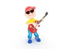 男孩吉他 免版税库存照片