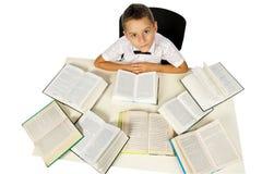 男孩和书 免版税库存图片