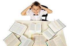 男孩和书 免版税库存照片