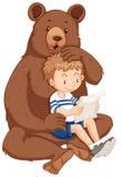 男孩和北美灰熊 向量例证