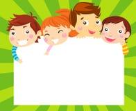 男孩和女孩和框架 免版税图库摄影