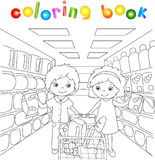 男孩和女孩在商店购物 向量例证