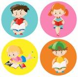 男孩和女孩在圆的徽章的阅读书 向量例证