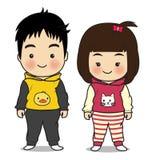男孩和女孩字符动画片 免版税库存图片