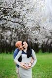 男孩和女孩开花的杏子背景的  人拥抱 免版税库存图片