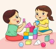 男孩和女孩愉快对使用与修造五颜六色的块vecto 向量例证