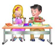 男孩和女孩数学类的 免版税库存图片