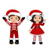 男孩和女孩有圣诞节服装的 向量例证