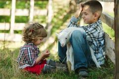 男孩和女孩有羊羔的在农场 免版税图库摄影