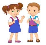 男孩和女孩有背包学生的停留动画片学校 库存照片