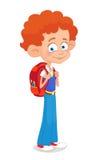 男孩和女孩有背包学生的停留被隔绝的动画片学校 免版税库存照片