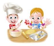 男孩和女孩烘烤 向量例证