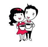男孩和女孩甜点咖啡 库存照片