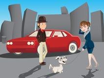 男孩和女孩走的例证 免版税图库摄影