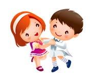 男孩和女孩跳舞 免版税库存照片