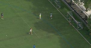 男孩和女孩踢在一个绿色领域的橄榄球 股票录像