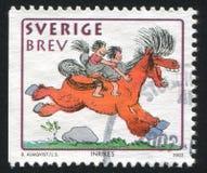 男孩和女孩马的贝蒂尔Almqvist 库存图片