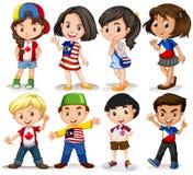 男孩和女孩从不同的国家 皇族释放例证