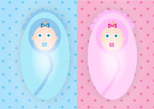 男孩和女孩婴孩 免版税库存照片