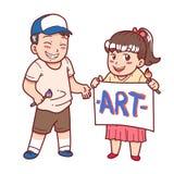 男孩和女孩绘画 图库摄影