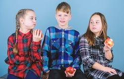 男孩和女朋友吃苹果快餐,当放松时 学校快餐概念 获得小组快乐的少年乐趣和 免版税库存照片
