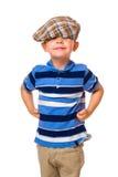 男孩和布料盖帽 库存图片