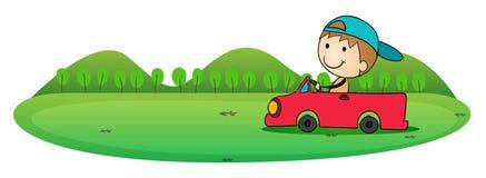 男孩和汽车 库存例证