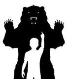 男孩和熊 库存照片