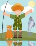 男孩和猫与被抓的鱼导航动画片 库存图片