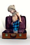 男孩和老手提箱 库存图片