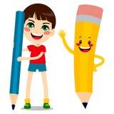 男孩和铅笔字符 免版税库存照片
