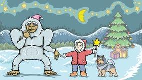 男孩和雪人妖怪在圣诞节 免版税库存图片