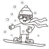男孩和雪板,上色 免版税库存图片