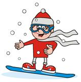 男孩和雪板 库存图片