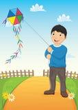男孩和风筝传染媒介例证 免版税图库摄影