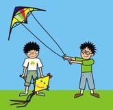 男孩和风筝 免版税图库摄影