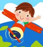 男孩和飞机 图库摄影
