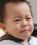 男孩哭泣的表面 免版税库存照片