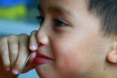 男孩噘嘴 图库摄影