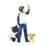 男孩图画在与他的狗的天空,水彩绘画设计中 库存照片