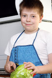 男孩圆白菜微笑 免版税库存图片