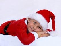 男孩圣诞老人 库存图片