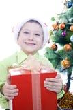 男孩圣诞节礼物 免版税库存照片