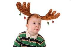 男孩圣诞节麋 库存图片