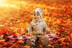男孩在公园在秋天 免版税库存照片