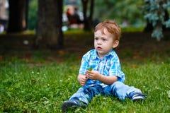 男孩在公园 库存图片