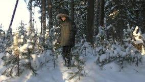 男孩在冬景花园公园震动从树的雪 影视素材