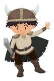 男孩在北欧海盗服装 皇族释放例证