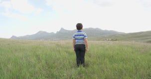 男孩在小山和立场的倾斜在房子前面和谷来与镇草的 股票视频